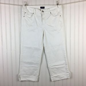 NYDJ Lyris Cropped Jeans White Denim Rolled Cuffs